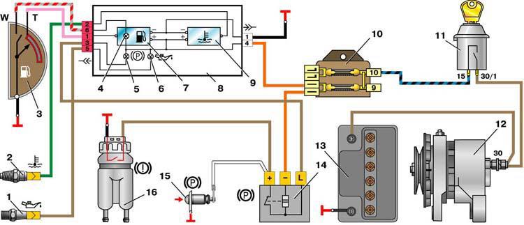 ...3 - датчик указателя уровня и резерва топлива; 4 - контрольная лампа резерва топлива; 5 - контрольная лампа...
