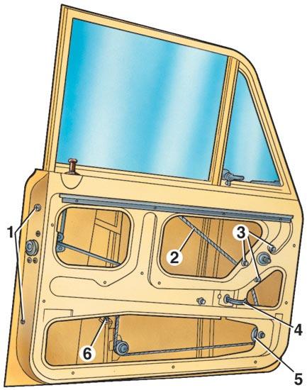 ...и гайку крепления переднего желобка, снимите желобки и опустите стекло вниз (2 - трос стеклоподъемника; 3 - гайки.