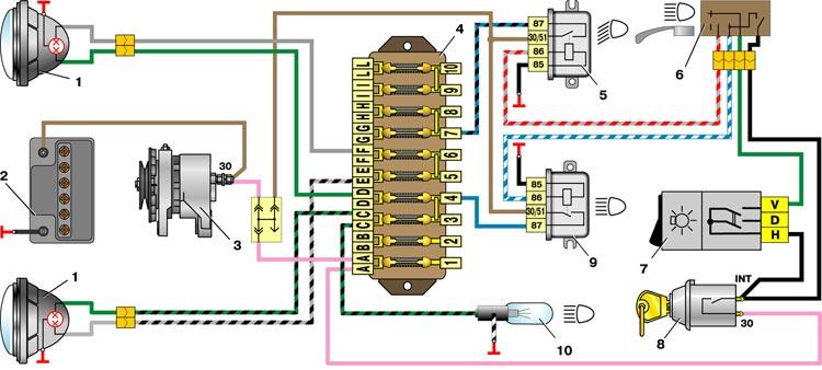 Схема включения фар автомобиля