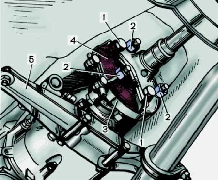 Рис. 3. Эластичная муфта соединения карданного вала с коробкой передач.  1 - болты крепления фланца карданного вала к...