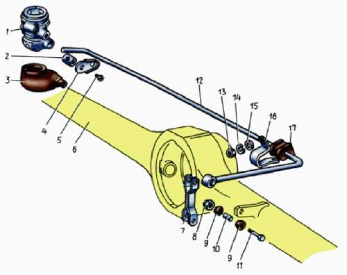 Рис. 1. Детали привода регулятора давления:1 - регулятор давления; 2 - осень рычага привода регулятора; 3...