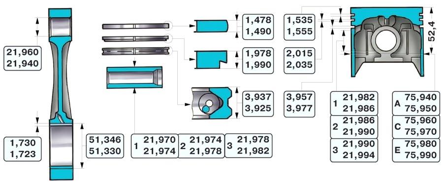 Схема поршня ваз 2106