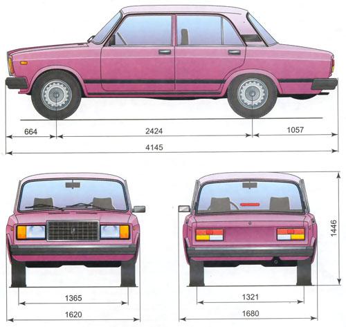 Схема и размеры кузова ваз 2107.