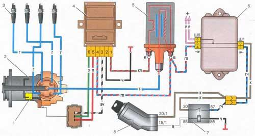 Схема бесконтактной системы зажигания ВАЗ-2109